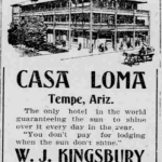 A December 31st, 1905 Arizona Republican for Tempe's Casa Loma Hotel offering free lodging should the sun not shine.