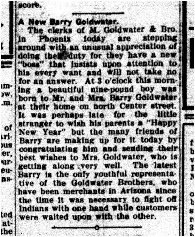 Senator Goldwaters January 2nd 1909 Arizona Gazette Birth – Gazette Birth Announcements