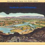 A post-National Monument era postcard showing water features added to the landscape following delisting, as viewed from Hole-in-the-Rock.