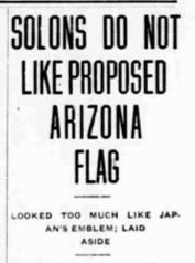 Arizona state flag, state flag, Arizona flag, Arizona history, Arizona historian, AZHistorian, John Larsen Southard, John Southard, Thomas Campbell, 1912, 1917