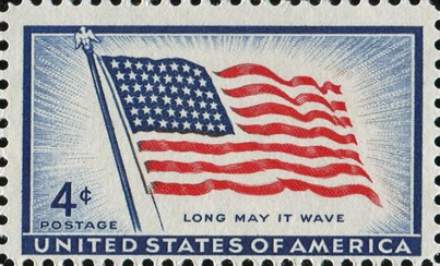 A 1957 stamp showing the 48-star U.S. flag in use from 1912 to 1959. For more information regarding Arizona's star and its association with Independence Day, please see https://www.facebook.com/photo.php?fbid=409877605794905&set=a.342266935889306.81247.221135871335747&type=1&theater.
