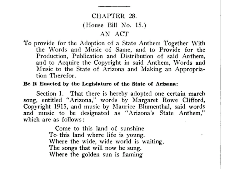 "Text of the 1919 bill naming ""The Arizona March Song"" our state anthem."