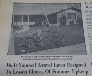 Headline and photo from a February 23rd, 1963 Arizona Republic article on Leisure Lawns.