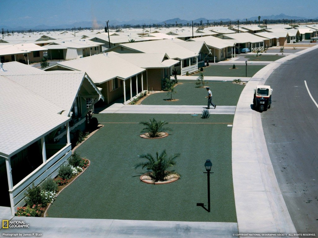 Photo of a Sun City Leisure Lawn included in a March 1963 National Geographic article on Arizona.